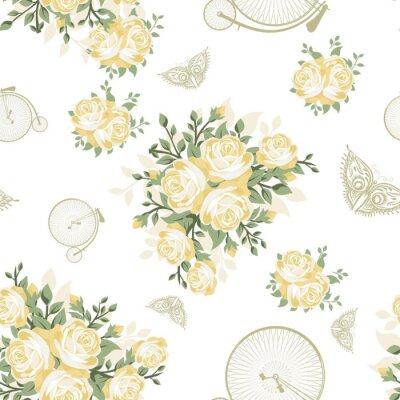 Carta da parati Giallo fiori, farfalle e Biciclette Seamless Pattern