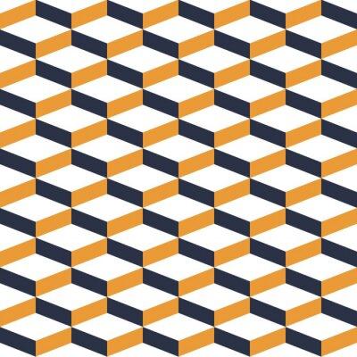 Carta da parati Giallo geometrica illusione Seamless Pattern