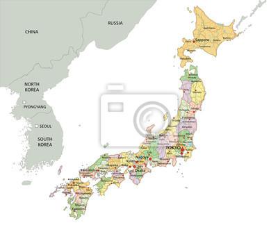 Il Giappone Cartina Politica.Giappone La Mappa Politica Modificabile Altamente Dettagliato Carta Da Parati Carte Da Parati Nagasaki Nagoya Hokkaido Myloview It