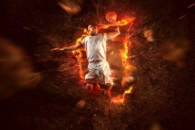 Carta da parati Giocatore di basket on Fire