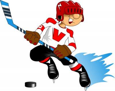 Carta da parati giocatore di hockey in bianco