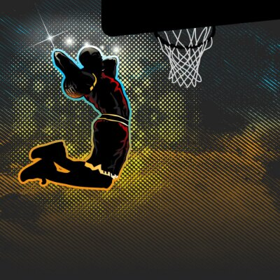 Carta da parati Giocatore di pallacanestro che va per due dunk mani