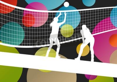 Carta da parati giocatore di pallavolo sagome nello sport astratto illustrazione vettoriale sfondo