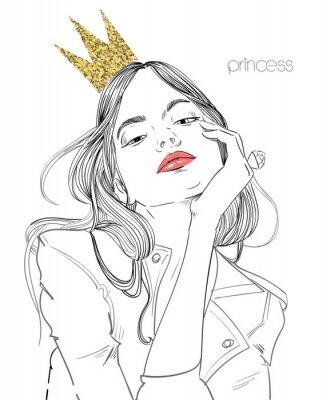 Carta da parati giovane bella donna con corona