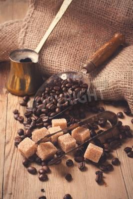 Carta da parati Gli ingredienti e gli utensili per la preparazione del caffè