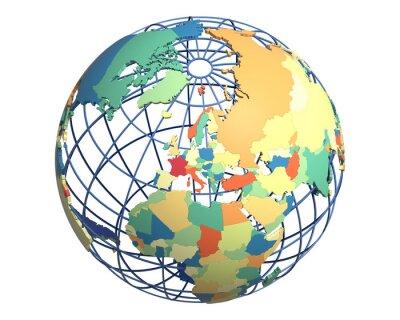 Carta da parati Globe politica, centrato sull'Europa