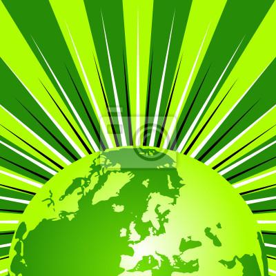 Carta Da Parati Globo Terrestre Su Sfondo Stellato Verde E Bianco