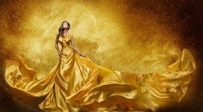 Carta da parati Gold Fashion Model Dress, donna d'oro di seta, abiti che scorre Tessuto