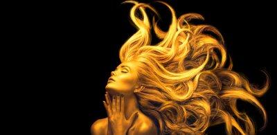 Carta da parati Gold Woman. Beauty fashion model girl with Golden make up, Long hair on black background. Gold glowing skin and fluttering hair. Metallic, glance Fashion art portrait, Hairstyle. Fashion art design