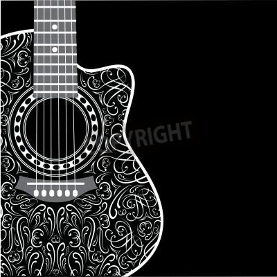 Carta da parati gradiente di sfondo con la chitarra ritagliato ed elegante ornamento