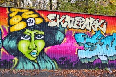 Carta da parati Graffiti arte muro di mattoni in germania