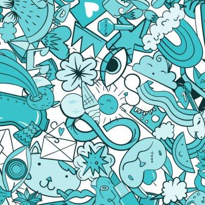 Carta da parati Graffiti modello con le icone di linea di stile urbano. Doodle pazzo astratto sfondo vettoriale. Collage lineare in stile lineare con elementi bizzarri di arte di strada.