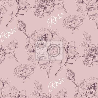 Carta da parati grafica Vintage rose di progettazione senza soluzione di continuità pattern.Background per i prodotti cosmetici di rosa, negozio di fiori, un salone di bellezza, naturale e prodotti biologici. illustr