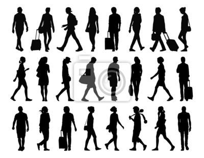 Immagini Sagome Persone.Carta Da Parati Grande Serie Di Sagome Di Persone Che Camminano Set 4