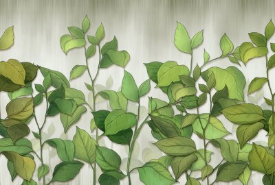 Carta da parati Green leaves of a house plant on a wall background. Tropical leaves. for interior printing.