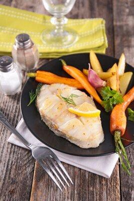 Carta da parati grigliate di pesce e verdure