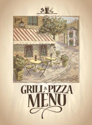 Carta da parati Grill e menù pizza con illustrazione grafica di un caffè della via.