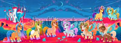 Carta da parati Gruppi di unicorni e pegasi in un paesaggio fantastico. Illustrazione di cartone animato vettoriale