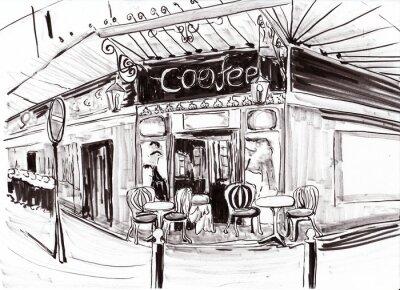 Carta da parati hand draw paris coffee shop