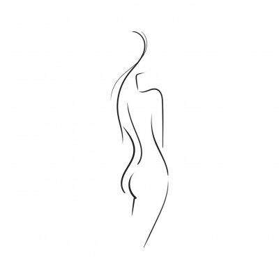 Carta da parati Hand-drawn Beautiful nude  young woman isolated on white background.Line illustration.Beauty Logo.Stock vector illustration.
