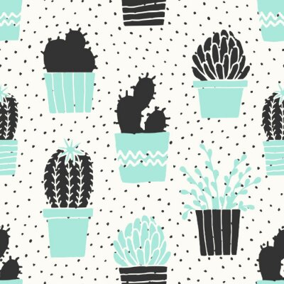 Carta da parati Hand Drawn Cactus pattern