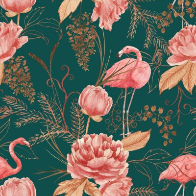 Carta da parati Hand drawn watercolor seamless pattern with pink flamingo, peony and decorative plants. Repeat background illustration