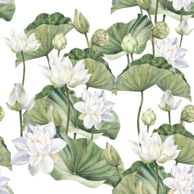 Carta da parati Hand drawn watercolor seamless pattern with white lotus flowers and lotus leaf