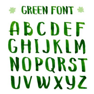 Carta da parati Handmade ink green alphabet.