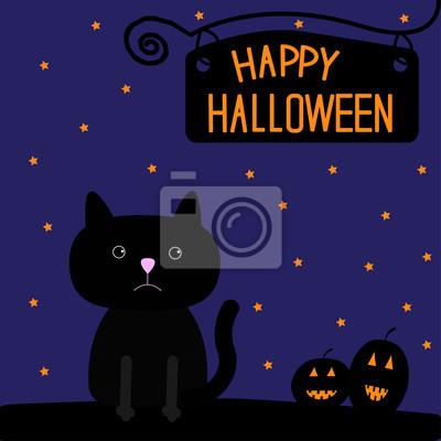 Zucca Halloween Gatto.Carta Da Parati Happy Halloween Gatto Nero E Zucche Carta