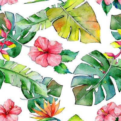 Carta da parati Hawaii tropicale lascia il modello in uno stile acquerello. Aquarelle fiore selvatico per sfondo, texture, involucro modello, cornice o bordo.