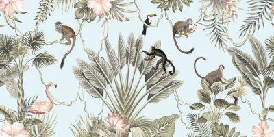 Carta da parati  Hawaiian vintage botanical palm tree,banana tree, palm leaves, hibiscus flower, liana, monkey animal summer paradise floral seamless border blue background.Exotic jungle wallpaper.  G