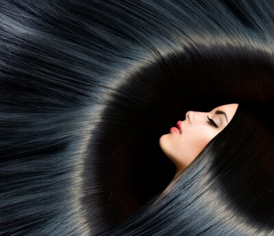 Carta da parati Healthy lunghi capelli neri. Bellezza Donna Bruna