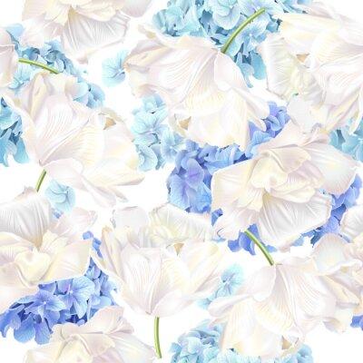 Carta da parati Hidrangea tulipano blu modello