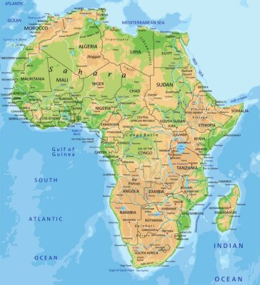Carta da parati High detailed Africa physical map with labeling.