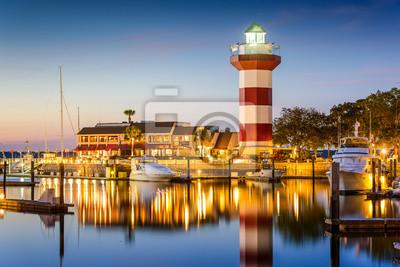 Carta da parati Hilton Head, South Carolina, USA Lighthouse at Twilight