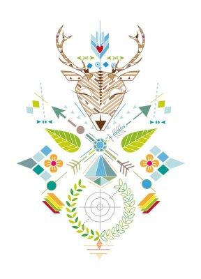 Carta da parati Hirschjagd - Grafisches Muster mit Hirschkopf, Zielscheibe, Pfeile, Blätter und Blüten