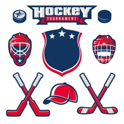 Carta da parati Hockey logo, emblema, etichetta, elementi di design distintivo