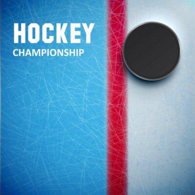 Carta da parati Hockey puck isolato su ghiaccio vista dall'alto