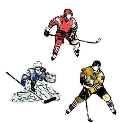 Carta da parati hockey su ghiaccio giocatori illustrazioni vettoriali