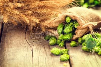 Carta da parati Hop in borsa e spighe di grano sul tavolo in legno vecchio cracking. Birra concetto di birreria. Ingrediente per produzione di birra. Beauty fresche raccolte coni di luppolo e frumento primo. Sacco di