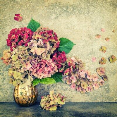 Carta da parati Hortensia fiorisce il mazzo sfondo di pietra annata tonica