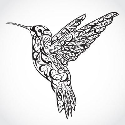 Carta da parati Hummingbird. Arte del tatuaggio. Retro bandiera, invito, carta, rottami di prenotazione. t-shirt, borsa, cartolina, poster.Highly dettagliata stile vintage disegnata a mano illustrazione vettoriale