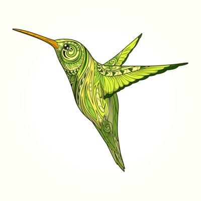 Carta da parati Hummingbird con ornamento astratto vettore