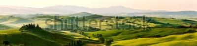 Carta da parati I bei colori miracolosi del panorama verde della molla abbelliscono della Toscana, Italia.