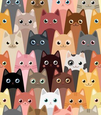Carta da parati I gatti. Cartoon vettore wallpaper senza soluzione di continuità.