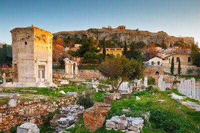 Carta da parati I resti del Agorà Romana e Acropoli di Atene, in Grecia.