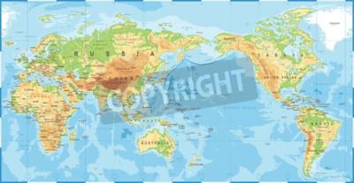Carta da parati Icona centrata vettore politico fisico topografico colorato mappa del mondo.