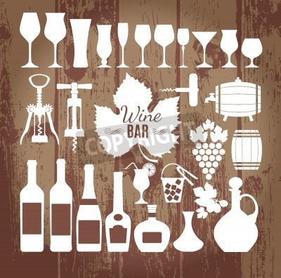 Carta da parati Icone del vino scenografia. Vettore stock illustrazione.