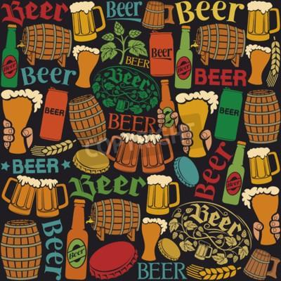 Carta da parati icone di birra birra seamless sfondo, luppolo foglia, ramo hop, botte di legno, bicchiere di birra, lattina di birra, tappi di bottiglia, boccale di birra, bottiglie di birra birra