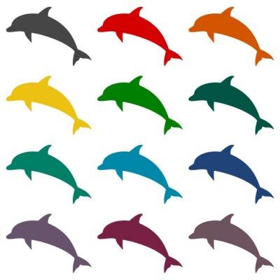 Carta da parati Icone Dolphin set